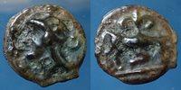 Haute et Moyenne Seine, potin au taureau chargeant et au Lis, 3,23 grms, Lt 9155 Ttb+