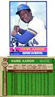 Hank Aaron Unsigned 1976 Topps Card
