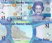"""Cayman Islands 1 Dollar Pick #: 38 (e?) 2017 (2015) UNCOther Caribbean Islands Currency - D/5 Prefix - Sign 5 Blue Queen Elizabeth II: Fish; Crest; Scenic view of mountainNote 6"""" x 2 1/2"""" North and Central America Turtle"""