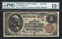 $5 1882 Brown Back Murchison National Bank of Wilmington, North Carolina CH 5182