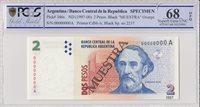 Argentinien 2 Pesos Bartolomé Mitre Musée 1997 Spécimen Pcgs 68 Opq