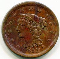 1853 Large Cent AU58