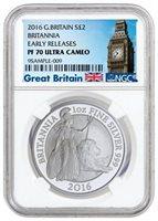 2016 Britannia Britain Silver Proof 1oz NGC PF70 ER Early Release Big Ben !