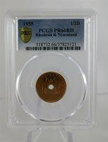 "1955 Rhodesia & Nyasaland Half Penny PCGS PR66RD: ""Pop 4, None Higher"""