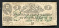 T-43 1862 $2 TWO DOLLARS CSA CONFEDERATE STATES OF AMERICA SCARCE (B)
