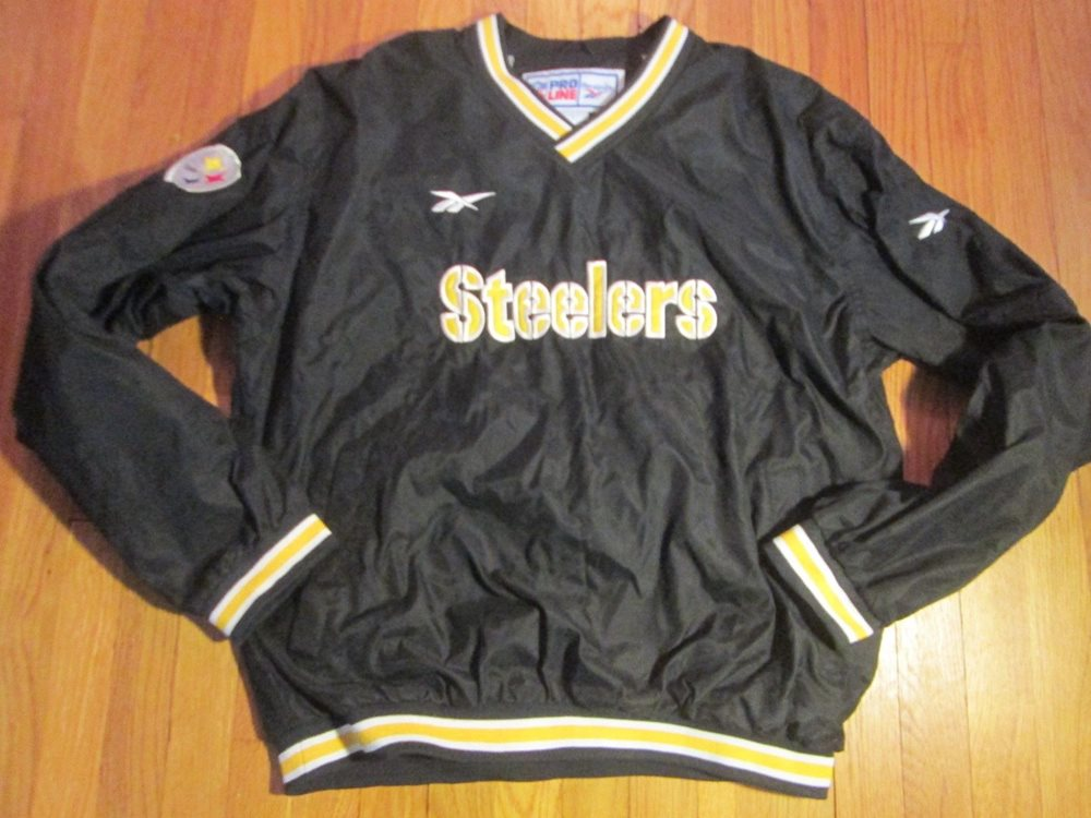 online store 2443a 070c3 VINTAGE REEBOK PRO-LINE AUTHENTIC NFL PITTSBURGH STEELERS PULLOVER JACKET  SIZE L