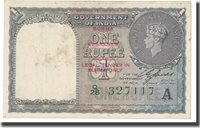 1 Rupee 1940 India Banknote, Km:25d
