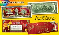 USA $2 Bill 2018 Chinese New YEAR OF Dog Polychromatic Red Envelop Certifed