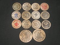 12 Boy Scout Wooden Nickles and 2 Wooden Dollars c30