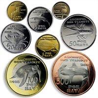 Tuamotu Islands, set of 8 coins, Local Fauna, Sea Creatures, Birds, 2015