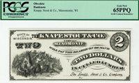 $2 Knapp Stout & Co. Menomonie Wisconsin PCGS 65 PPQ Gem Uncirculated.