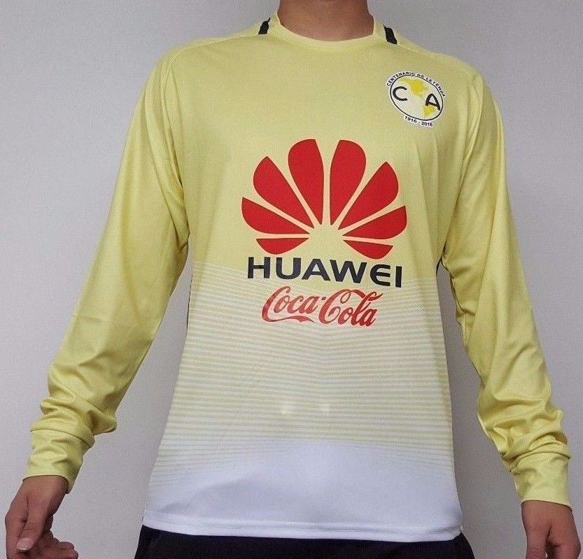 premium selection fc975 eafae Club America FC Men's Home Soccer Long Sleeves Jersey Made in Mexico