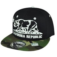 05b7344b87b California Republic Cali Bears Camouflage Black Camo Snapback Flat Bill Hat  Cap