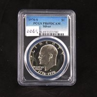 1976 S Eisenhower Proof Silver Dollar, PCGS PR69DCAM, Gem Uncirculated, Graded in Holder, Rare, Bi-Centennial Coin, IKE