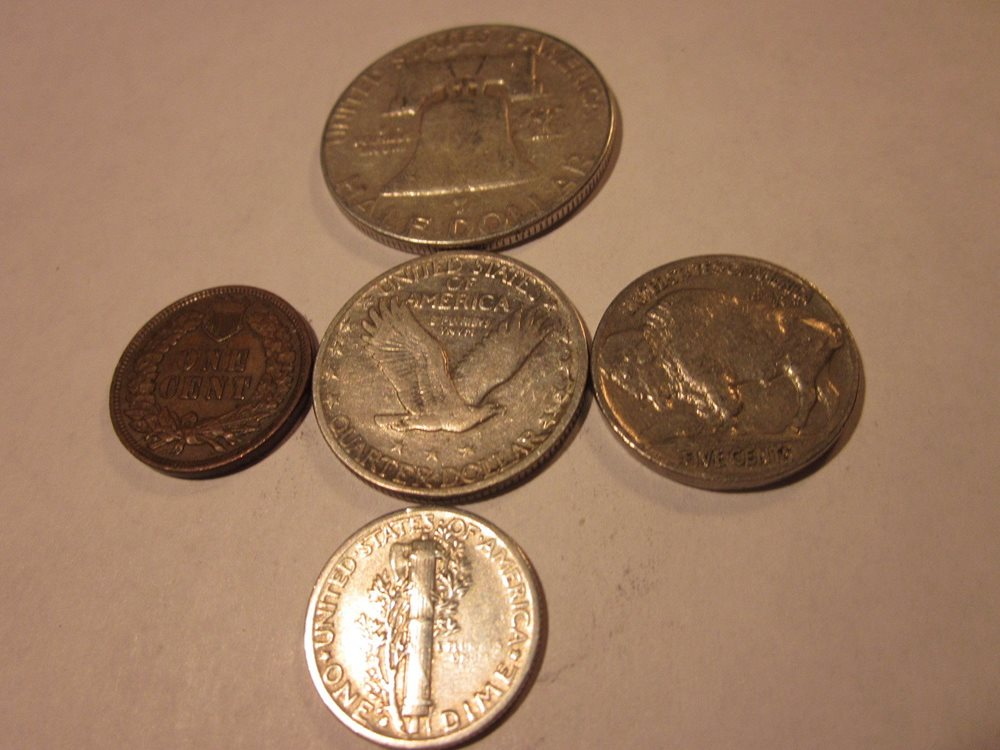 Silver Coins 5 Coin Collection Set Old U.S 90/% Silver Type Coins For Sale