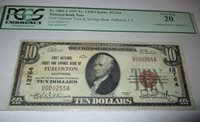 $10 1929 Fullerton California CA National Currency Bank Note Bill #12764 VF PCGS