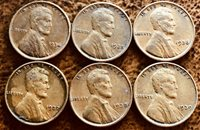 1934 35 36 37 38 39 Philadelphia Lincoln Copper 95% Wheat Pennies