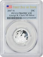 2017 S 25C Silver G Clark NP Quarter PCGS PR69DCAM - Flag, 'First Day of Issue'