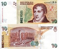 """Argentina 10 Pesos Pick #: 354 (variety) 2014 UNCOther Suffix N Brown/Green Manuel Belgrano; Statue of topless lady in background; Monument at La RosarioNote 6"""" x 2 3/4"""" South America Manuel Belgrano"""