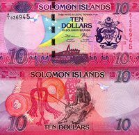 "Solomon Islands 10 Dollars Pick #: New 2017 UNCOther A/1 Prefix Pink Flag; Arms; Local woman Note 5 1/4"" x 2 1/2 "" Australia and the South Pacific Falcon' Head ""CBSI"""