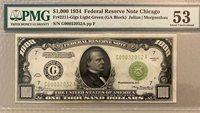 1934 $1000 Chicago Fr.2211-G LGS PQ -AU PMG 53, A Peach! Light Green Seal-LOOK!
