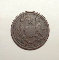 1810 British East India Company - Penang, Malaya 1/2 Cent, KM-12.