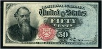 F1376 50c Stanton Very Choice About Uncirculated, with a corner fold. Great margins and brilliant color. A superior note.