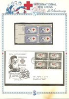 U S Stamps, Scott 1239 INTERNATIONAL RED CROSS 100 ANNIVERSARY FDC & PB of 4, B