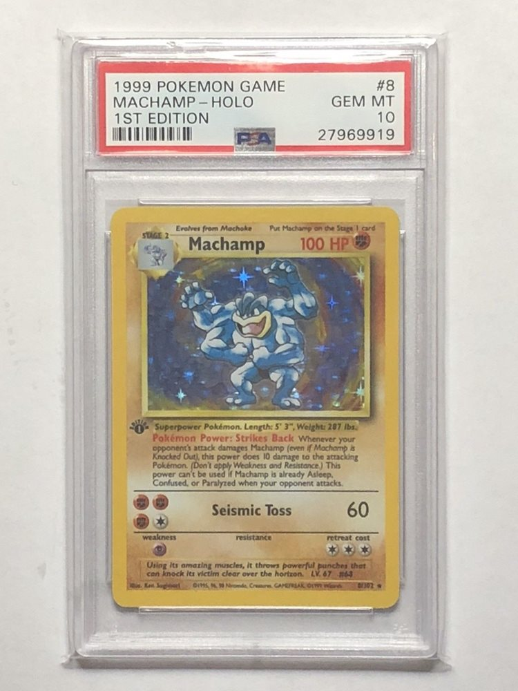 PSA 10 GEM MINT Machamp Base Set 1st Edition Holo Rare Pokemon Card 8/102
