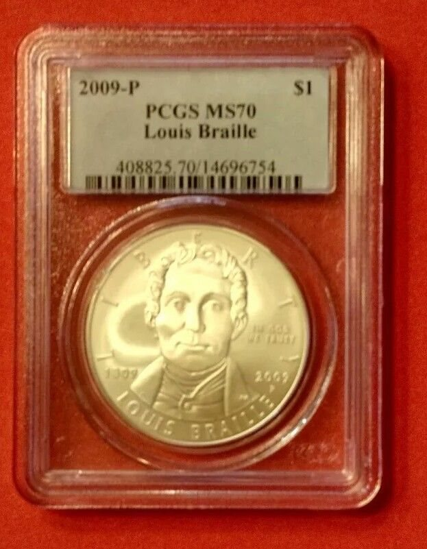 2009 P Louis Braille Commemorative Silver Dollar NGC MS69