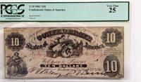 T-10 1861 Confederate States of America $10 Note PCGS Very Fine 25 PF-15