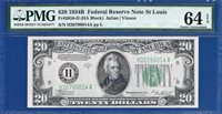 *VINSON* 1934B $20 St. Louis FRN Certified PMG Choice Uncirculated CU 64EPQ C2C