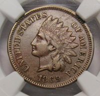 1869 Indian Head Cent NGC XF-40 BN