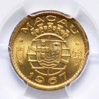 5 AVOS 1967, MACAU PORTUGAL, PCGS MS65