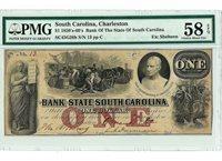 1850's - 1860's $1 Bank of South Carolina PMG Choice AU 58 EPQ EX: Sheheen #13