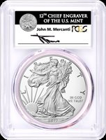 2017-(W) Silver Eagle Struck at West Point PCGS MS70 First Strike John Mercanti Signed Label 1 of 1000