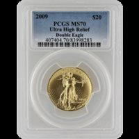 2009 $20 Gold Saint Gaudens Ultra High Relief PCGS MS70 Blue Label