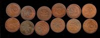 12 GERANY COINS, 2 PFENNING DIFFERENT YEARS
