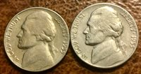 1955 P 1955 D Jefferson Nickels( Low Mint)- Circulated