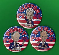 "1992 Clinton, Bush, Perot (Set of 3) 3.5""/ Cartoon Presidential Campaign Buttons"