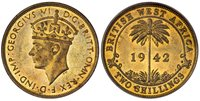 BRITISH WEST AFRICA. George VI. 1942-KN Nickel-Brass 2 Shillings. PCGS SP64. GEORGIVS VI D.G.BRITT: OMN:REX F.D.IND:IMP:. Bust of King George VI left / BRITISH WEST AFRICA. Palm tree divides date in circular frame. KM 24.Please use this link to ve