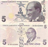 "Turkey 5 Lirasi Pick #: 222b 2009 (2013) UNCOther Sign 56 - B Prefix Beige/Pink/Blue President Mustafa Kemal Ataturk; Science Historian - Aydin Sayih; Planets; Atoms, Double Helix DNA chainNote 5 1/4"" x 2 1/2 "" Asia and the Middle East President Ataturk"
