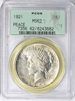 1921 $1 High Relief, Peace MS62 PCGS