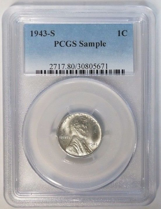 1943 P S LINCOLN WHEAT CENT PENNY 1C  STEEL CENTS  SLABBED AU BU D