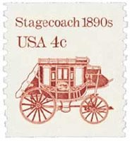 #2228 – 1986 4c Transportation Series: Stagecoach, 1890s, re-engraved