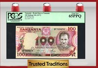 100 Shilingi 1977 Tanzania Pcgs 65 Ppq Gem New Finest Known!