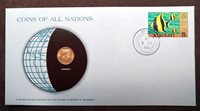 1980 Postmarked Coins of All Nations PNC with Mint state coin, Kiribati