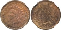 1875 Indian 1C NGC MS63 Brown