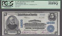 FR.#609 1902 PB $5 CHARTER #12500 PCGS CHOICE ABOUT NEW 55PPQ.