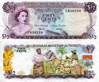 """Bahamas 50 Cents Pick #: 26 1968 VF/FOther C Prefix Multicolored Queen Elizabeth II; Coloful Straw Market SceneNote 6 x 2 3/4"""" North and Central America Shellfish"""